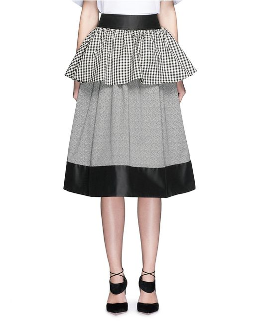 isa arfen gingham peplum stripe midi skirt in black ecru