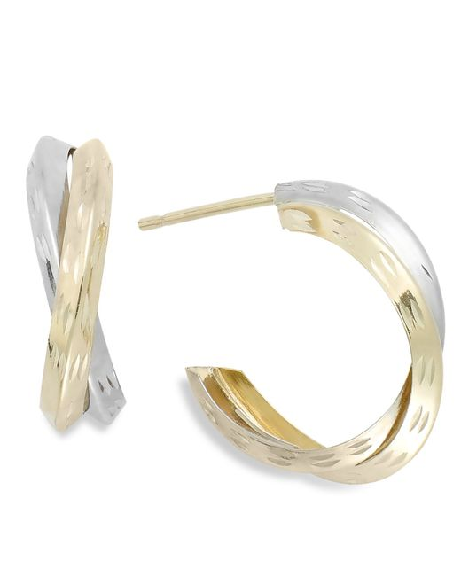 Macy's | Metallic Two-tone X-hoop Earrings In 10k Gold, 16mm | Lyst