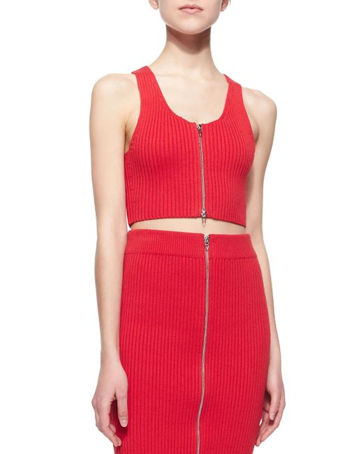 T By Alexander Wang | Red Sleeveless Ribbed Zip-front Cropped Top | Lyst