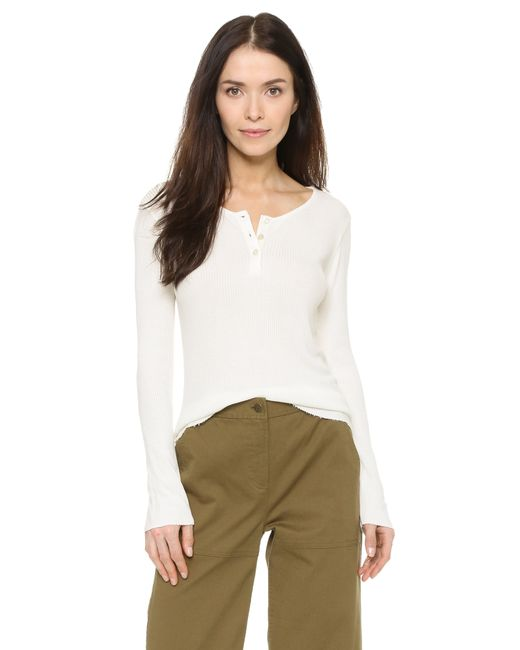 Monrow | White Long Sleeve Henley Shirt | Lyst