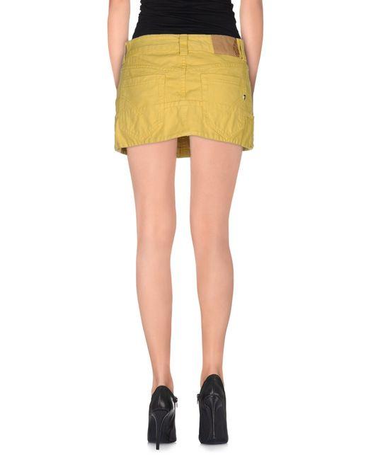 dondup denim skirt in yellow save 23 lyst