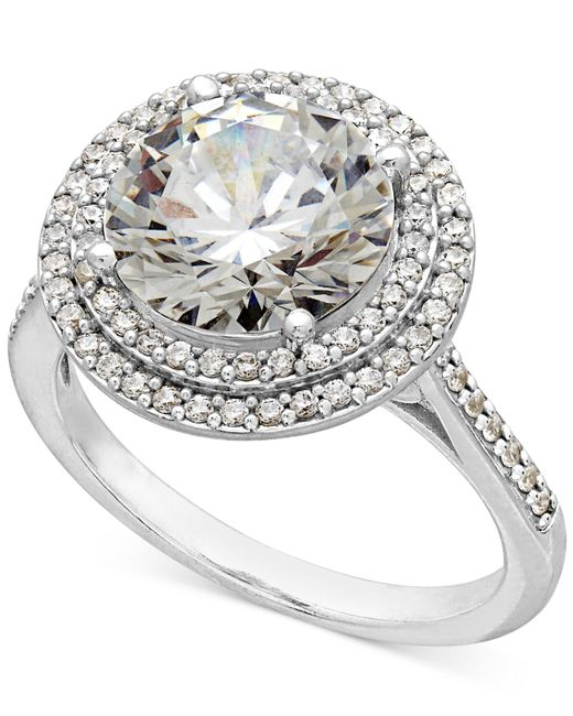 Arabella | Metallic Sterling Silver White Swarovski Zirconia Ring (7-3/8 Ct. T.w.) | Lyst