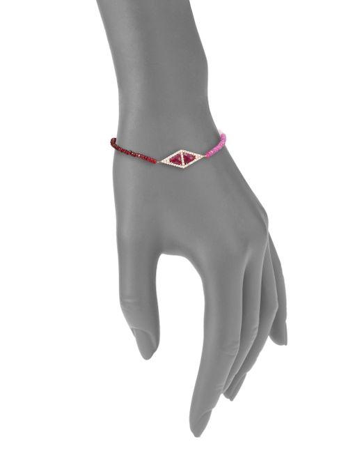 Meira T | Pink Pave Diamond, Ruby & 14k Rose Gold Bracelet | Lyst