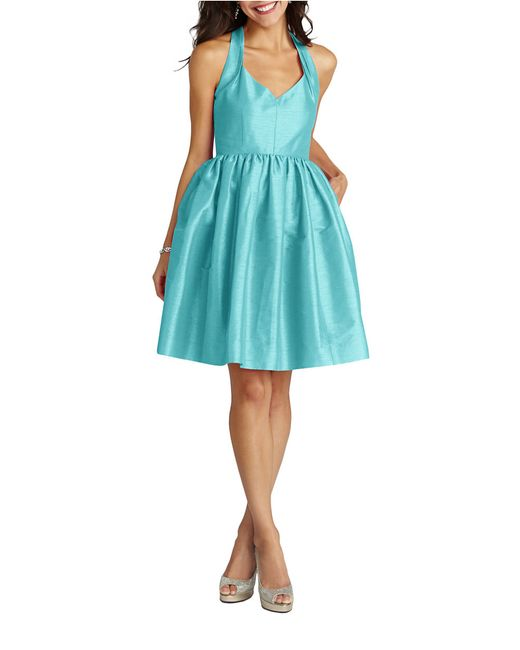 Donna Morgan | Blue Halter Fit And Flare Dress | Lyst