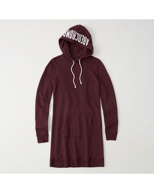 Abercrombie & Fitch - Red Graphic Sweatshirt Hoodie Dress - Lyst