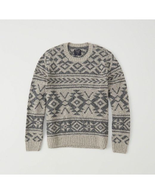 Lyst - Abercrombie & fitch Fair Isle Sweater in Gray for Men ...