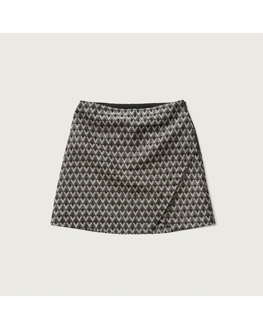 abercrombie fitch jacquard a line skirt in grey grey