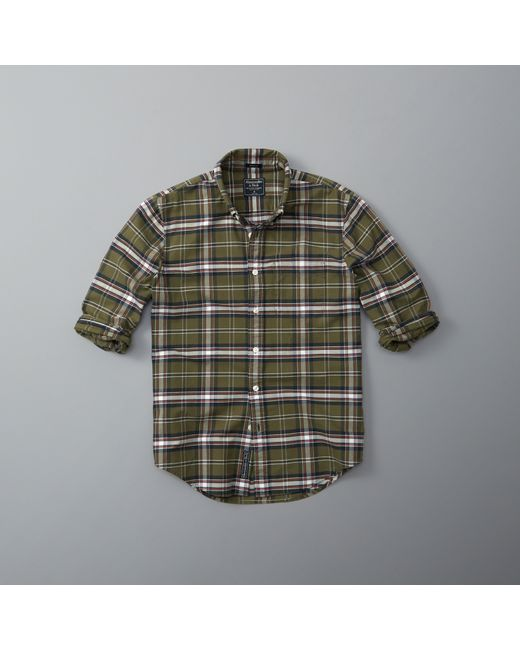 Abercrombie fitch bleached plaid oxford shirt in green for Olive green oxford shirt
