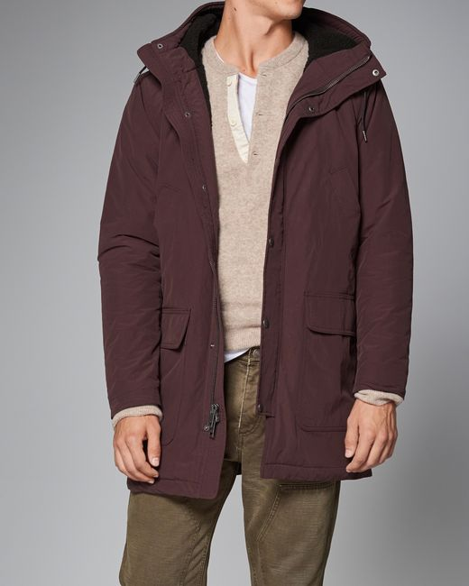 Abercrombie &amp fitch Sherpa Cotton Parka Jacket in Purple for Men