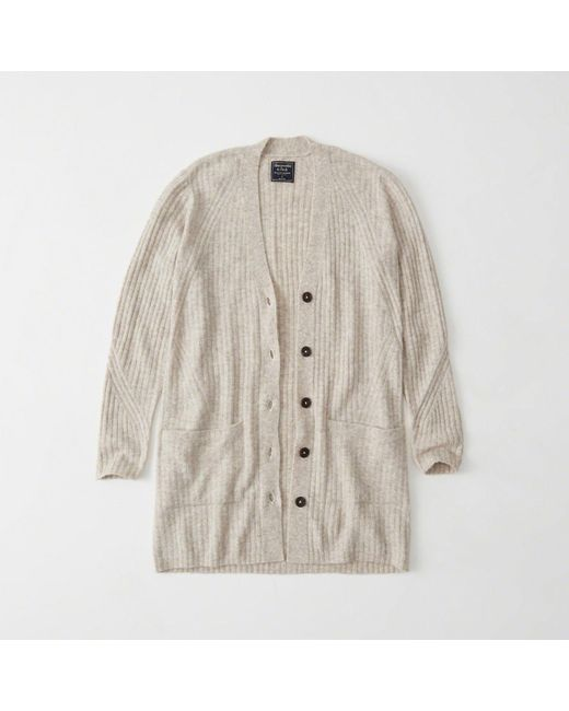 Abercrombie & fitch Ribbed Duster Cardigan | Lyst
