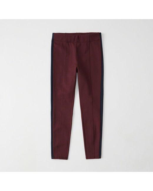 Abercrombie & Fitch - Red Side Stripe Leggings - Lyst