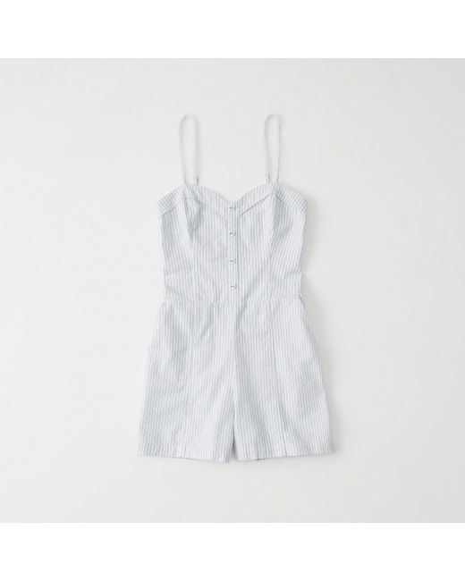 Abercrombie & Fitch - White Button-down Romper - Lyst