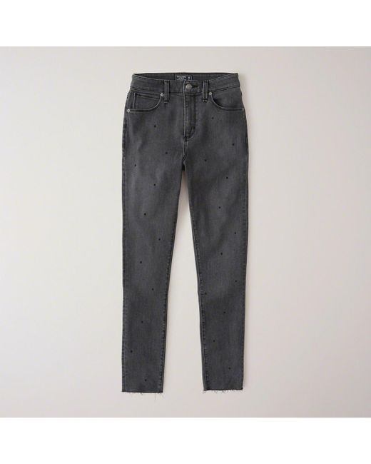 Abercrombie & Fitch - Gray High Rise Ankle Jeans - Lyst