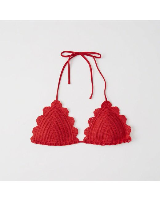 Abercrombie & Fitch - Red Crochet Triangle Bikini Top - Lyst