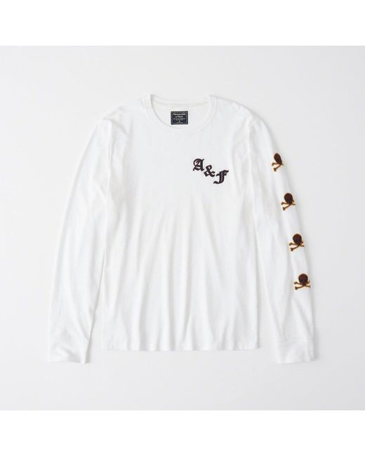 d50222b0b5ce0 Abercrombie   Fitch - White Long-sleeve Applique Rugby Tee for Men - Lyst