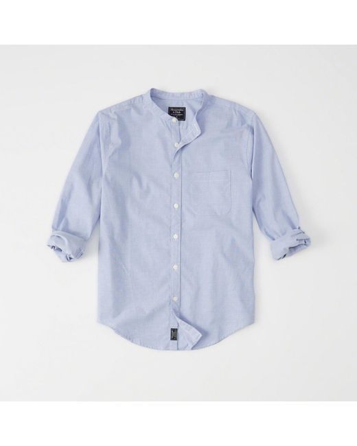 Abercrombie & Fitch - Blue Banded Collar Poplin Shirt for Men - Lyst