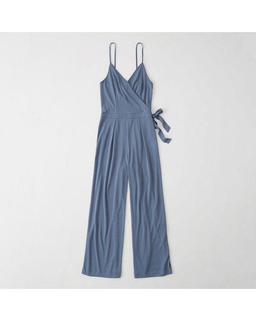 Abercrombie & Fitch - Blue Wrap-front Jumpsuit - Lyst