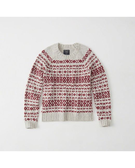 Abercrombie & fitch Fair Isle Crew Sweater | Lyst