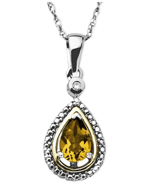 Macy's | Metallic 14k Gold And Sterling Silver Necklace, Citrine (5/8 Ct. T.w.) And Diamond Accent Teardrop Pendant | Lyst