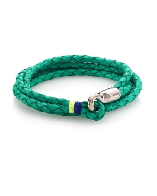 Miansai | Green Trice Sterling Silver & Braided Leather Triple-wrap Bracelet | Lyst