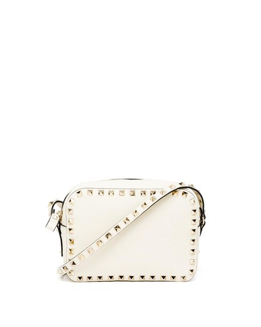 Valentino | White Rockstud Pebbled Leather Camera Crossbody Bag | Lyst