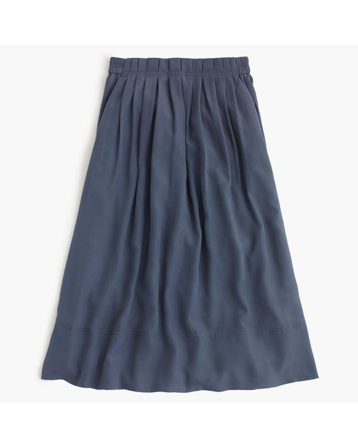 J.Crew | Blue Petite Pleated Midi Skirt | Lyst