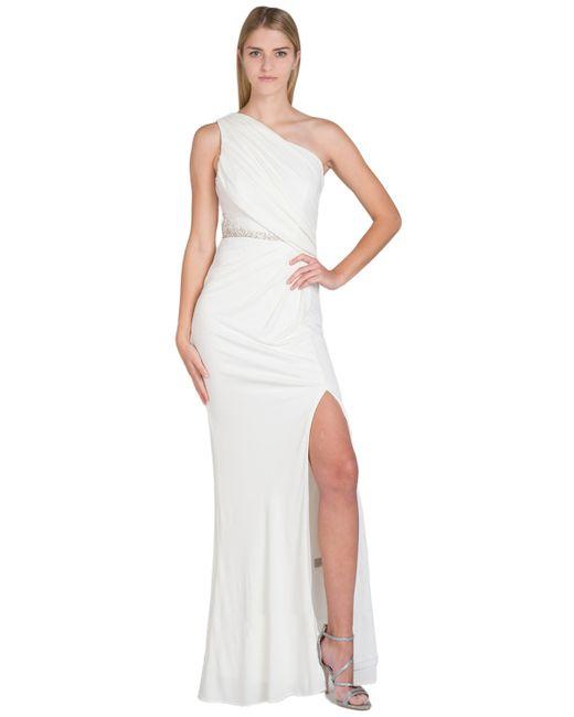 Badgley Mischka | White Side Pleat Jersey Evening Gown | Lyst