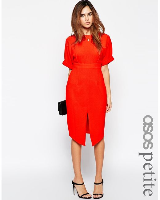 ASOS | Wiggle Dress With Split Front - Red | Lyst