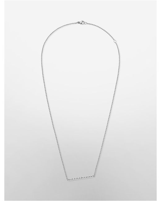 Calvin Klein | Metallic Platinum Edge Studded Necklace | Lyst
