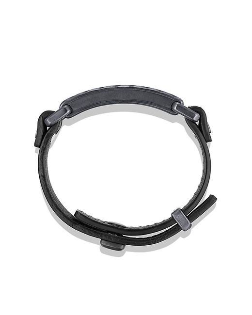 David Yurman | Modern Cable Id Bracelet In Black Leather for Men | Lyst