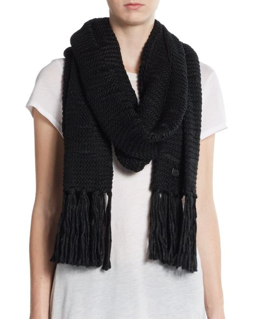 Vince Camuto | Black Dropped Stitch Scarf | Lyst