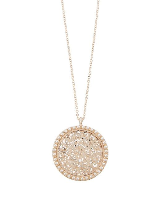 Accessorize - Metallic Encrusted Filigree Coin Pendant Necklace - Lyst