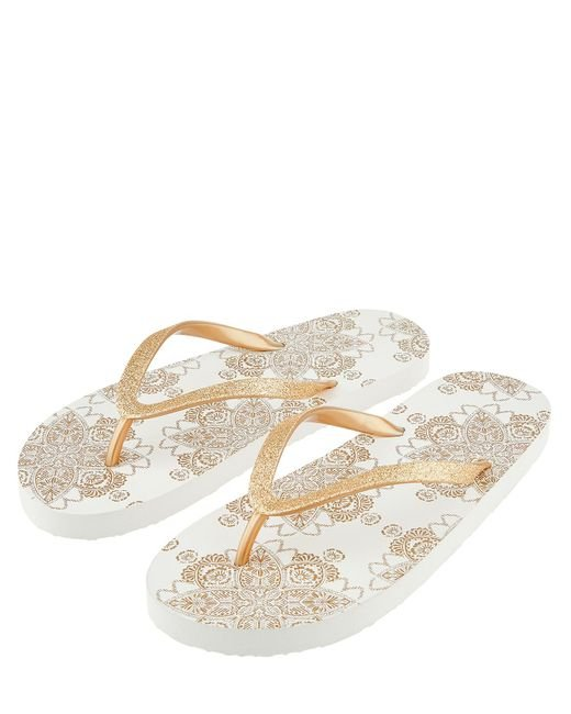 7aaffc2df93dfa Accessorize Metallic Print Beaded Eva Flip Flops in Metallic - Lyst