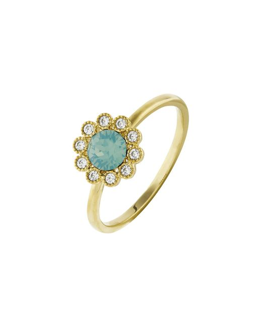 Accessorize - Green Flower Ring With Swarovski® Crystals - Lyst