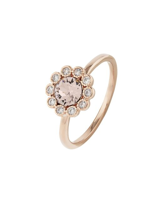 Accessorize - Pink Rose Gold Flower Ring With Swarovski® Crystals - Lyst