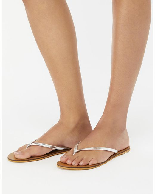 Accessorize - Metallic Lisa Flip Flops - Lyst