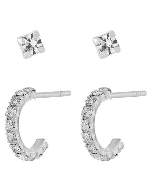 Accessorize - Metallic Sterling Silver Sparkle Hoop & Stud Earrings Set - Lyst