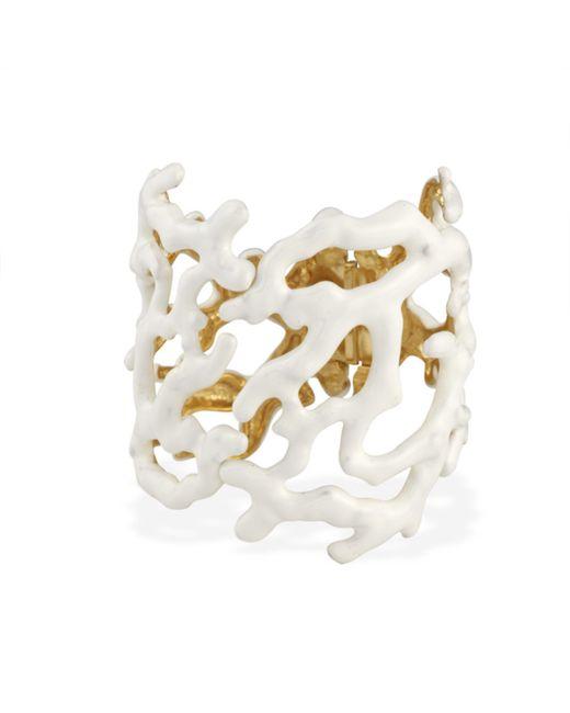 Kenneth Jay Lane | Metallic White Enamel Coral Branch Cuff | Lyst