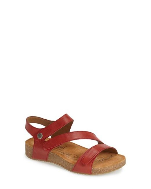 Josef Seibel Tonga Leather Sandal In Red Red Leather