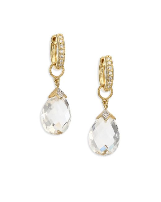 Jude Frances   Metallic Lisse White Topaz & 18k Yellow Gold Pear Briolette Earring Charms   Lyst