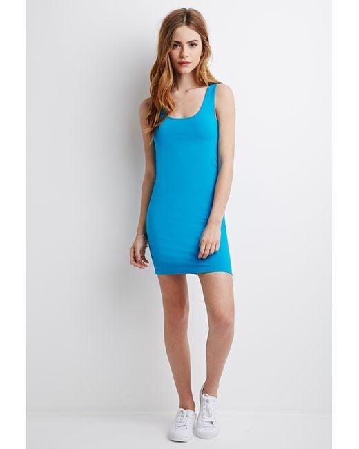 Forever 21 | Blue Stretch-knit Bodycon Dress | Lyst