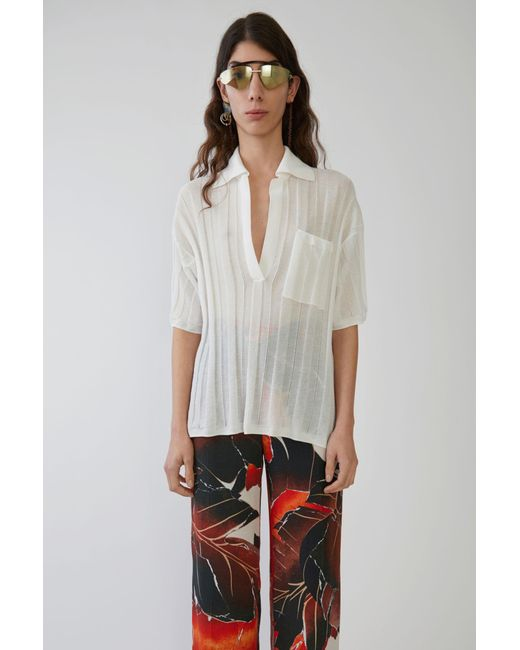Acne - Sheer Polo Shirt off White - Lyst