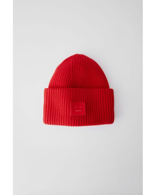 ac3262eeebad0b Acne Studios Pansy Face Tomato Red Ribbed Beanie Hat in Red for Men ...