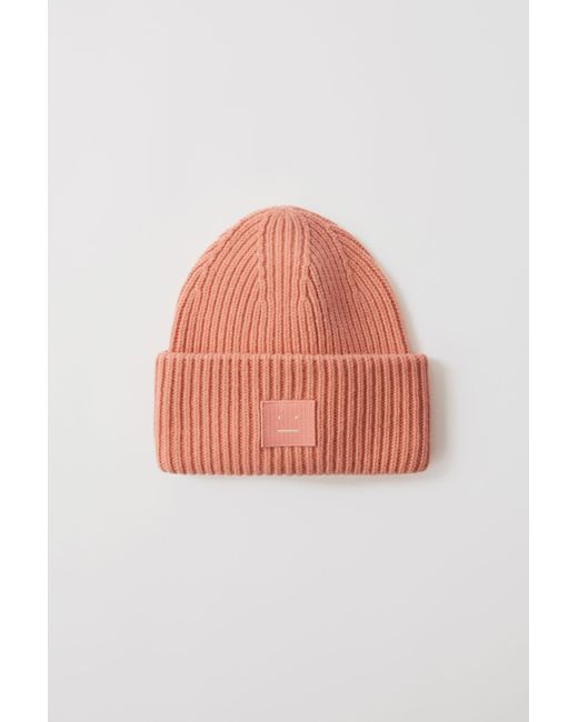 Acne Pansy N Face Pale Pink Ribbed Beanie