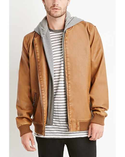 Forever 21 | Brown Faux Leather Hooded Jacket for Men | Lyst