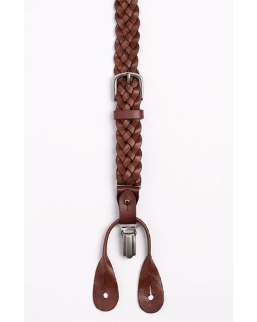 Trafalgar | Brown 'nevada' Convertible Braided Leather Suspenders for Men | Lyst