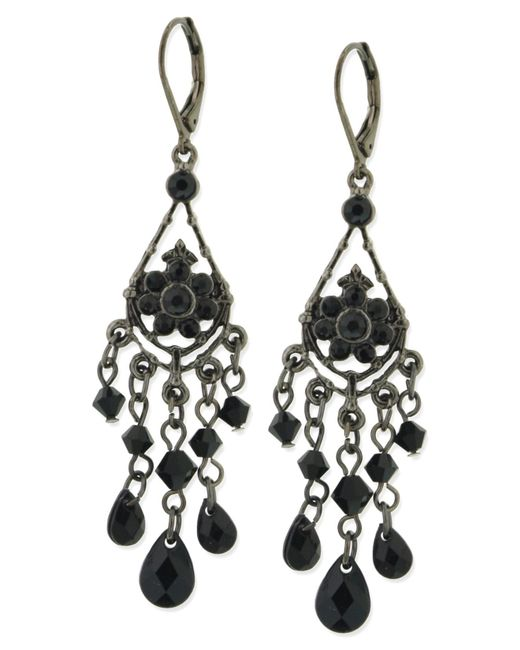 2028 | Black Jet Bead Chandelier Earrings | Lyst