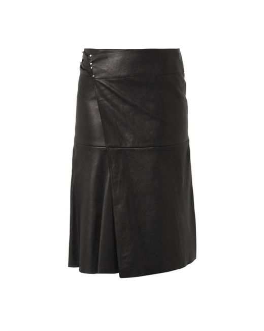 marant belia wrap front leather skirt in black lyst