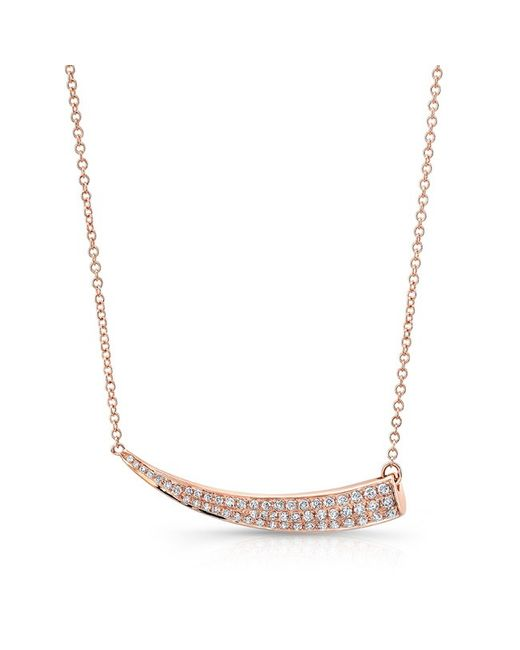 Anne Sisteron | Pink 14kt Rose Gold Diamond Sideways Horn Necklace | Lyst