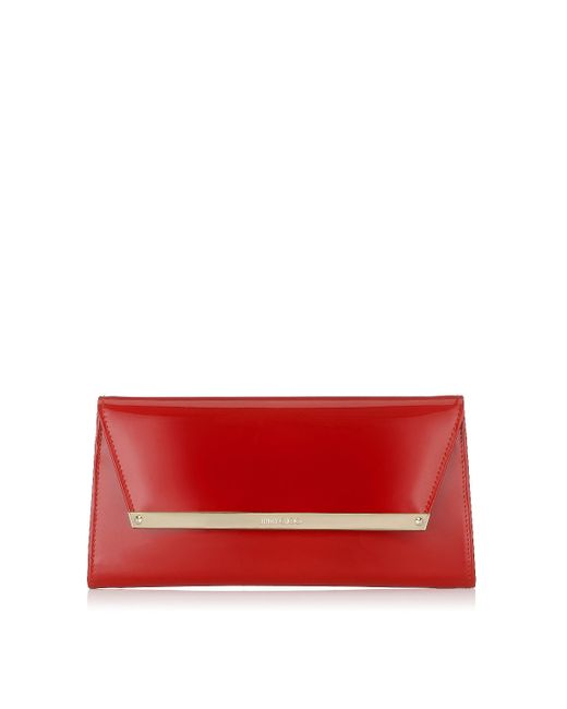 Jimmy Choo | Margot Red Patent And Suede Clutch Bag | Lyst